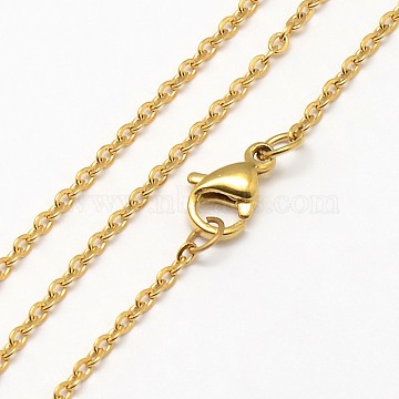 Trendy Unisex 304 Stainless Steel Cable Chain Necklaces, with Lobster Clasps, Golden, 17.7 inches(45cm), 1.5mm(X-NJEW-M047-02)
