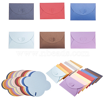 Retro Colored Pearl Blank Mini Paper Envelopes, Wedding Party Invitation Envelope, DIY Gift Envelope, Heart, Mixed Color, 7.2x10.5cm(DIY-WH0041-A-M)