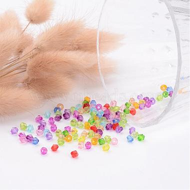 Mixed Color Chunky Dyed Transparent Acrylic Faceted Bicone Spacer Beads for Kids Jewelry(X-DBB4mm)-3