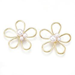 Perles de fil de laiton, avec abs en plastique imitation perle, fleur, blanc crème, véritable 18k plaqué or, 25.5x27.5x7.5mm(KK-S348-185)