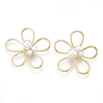 Real Gold Plated Ivory Flower Brass Beads