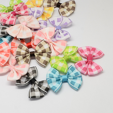 Handmade Woven Costume Accessories, Grosgrain Bowknot, Mixed Color, 54x42x8mm(X-WOVE-R083-M)
