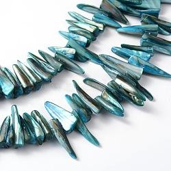 perles Erose coquille brins, teints, bleu, sur 20~40 mm de long, 4~7 mm d'épaisseur, 4~8 mm de large, environ 70 pcs / brin, trou: environ 1 mm(X-PBB064Y)