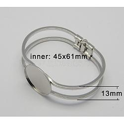 латуни браслет делает, пустое основание браслета, платина, 61x45 mm; лоток: 25 mm(KK-C1505-1)