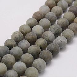 Natural Labradorite Beads Strands, Frosted, Round, 14mm, Hole: 1mm; about 29pcs/strand, 15.3inches(39cm)
