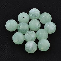 Perles acryliques, style de pierres fines imitation, facette, rond, aigue-marine, 11mm, trou: 2 mm; environ 540 pcs / 500 g(SACR-S001-11mm-20)