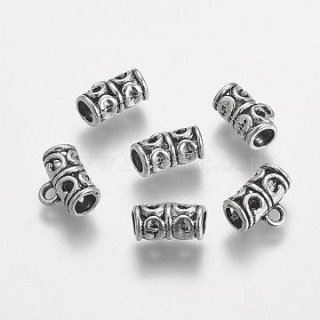 Tibetan Style Hanger Links, Antique Silver Tube Bail Beads, 11.5x9x6mm, Hole: 2mm(X-TIBE-I020-AS)