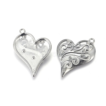 Heart Zinc Alloy Pendant Rhinestone Enamel Settings, Platinum Color, Cadmium Free & Lead Free, Size: about 39mm long, 31mm wide, hole: 2mm(X-PALLOY-A13825-N-LF)