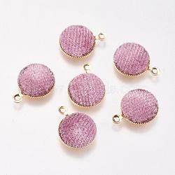 Breloques en laiton, de velours, plat rond, véritable plaqué or, rose, 14x12x3mm, Trou: 1mm(KK-P138-13F)