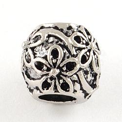 Supports de perles européennes avec strass en alliage de style tibétain, sans plomb et sans cadmium, rondelle, argent antique, s'adapter pour 1 mm strass; 10x8.5 mm, Trou: 4.5mm(X-TIBE-R295-067AS-FF)