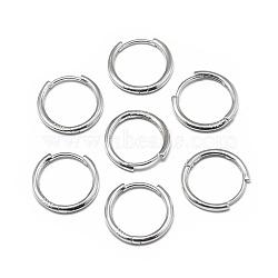 925 boucles d'oreilles créoles en argent sterling, platine, 18x2 mm; broches: 0.8 mm(STER-L057-077C)