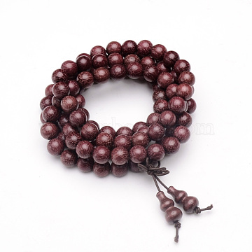 5-Loop Wrap Style Buddhist Jewelry, Red Sandalwood Mala Bead Bracelets/Necklaces, Round, OldRose, 33-7/8inches(86cm)(BJEW-S125-24)