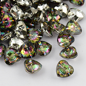 1-Hole Taiwan Acrylic Rhinestone Heart Buttons, Faceted & Silver Plated Pointed Back, Colorful, 13x13x7mm, Hole: 1mm(BUTT-F017-13mm-13)