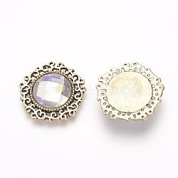 Cabochons à dos plat en alliage avec strass, avec strass acrylique, pentagone, Or antique, clair ab, 24x24x4mm(RB-S062-12)