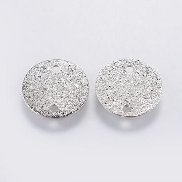 Iron Links connectors, Textured, Flat Round, Platinum, 10x0.2mm, Hole: 1mm(KK-F737-57P)