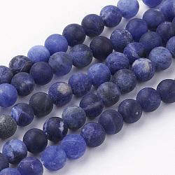 Chapelets de perles en sodalite naturel, rond, Grade a, mat, 6~6.5mm, trou: 1mm; environ 60 pcs/chapelet, 14.9'' (38 cm)(G-G735-58F-6mm-A)