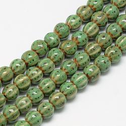 Perles en porcelaine manuelles, le style antique vitrée fantaisie, citrouille, limegreen, 10x11~12mm, Trou: 2.5mm(PORC-Q228-02)