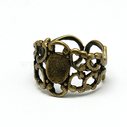 Brass Filigree Ring Components, Adjustable, Antique Bronze, 18mm, Tray: 8.5x6.6mm(X-KK-H235-AB1)