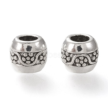 Alloy European Beads, Large Hole Beads, Round, Antique Silver, 9~9.5x8~8.5mm, Hole: 5mm(MPDL-L023-06AS)