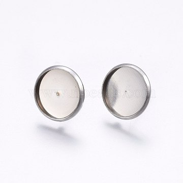 304 Stainless Steel Stud Earring Settings, Flat Round, Stainless Steel Color, Tray: 12mm; 14mm; Pin: 0.8mm(X-STAS-I095-03P-B)