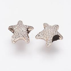 Perles européennes en alliage, Perles avec un grand trou   , étoiles, or clair, 13.5x12x6.5mm, Trou: 4.5mm(PALLOY-J707-04G-AAA)