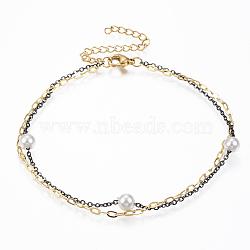 304 cheville multibrins en acier inoxydable, avec mousquetons, perles de perles acryliques et chaînes d'extension, arrondir, gunmetal & or, 8-5 / 8 / 1 8 mm)(AJEW-K016-09B)