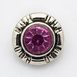 Argent antique de grade A en alliage de zinc bijoux en strass boutons pression, plat rond, Sans cadmium & sans nickel & sans plomb, améthyste, 13x8 mm; bouton: 4 mm(SNAP-O020-01B-NR)