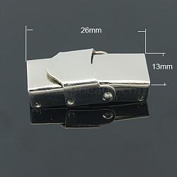 Fermoirs de bande de montre en 304 acier inoxydable, avec trois ou quatre dents de scie, rectangle, couleur inoxydable, 26x13mm, Trou: 10x2~3mm(X-STAS-C006-1)