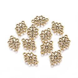 Liens / connecteurs de fleurs en alliage de style tibétain, sans plomb, Or antique, 13x19.5x1mm, Trou: 2mm(X-TIBE-990-AG-RS)