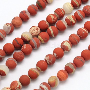 Frosted Round Natural White Lace Red Jasper Beads Strands, 10mm, Hole: 1mm; about 40pcs/strand, 15.3 inches(G-N0166-57-10mm)