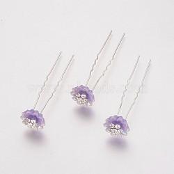 (vente de clôture défectueuse), fourches de cheveux de dame, avec des résultats de fer de couleur argent, strass et résine, fleur, cristal, lilas, 75 mm(PHAR-XCP0001-K03)