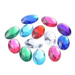 Cabochons en strass d'imitation acrylique de Taiwan, facette, dos plat ovale, couleur mixte, 30x20x5 mm; environ 100 PCs / sac(GACR-A008-20x30mm-M)