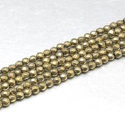 Chapelets de perles de pyrite naturelle , grade AB, facette, rond, Darkkhaki, 2mm, Trou: 0.5mm(G-J002-19)