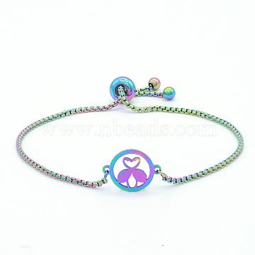 """Bracelets réglables en 201 acier inoxydable, bracelets bolo, avec des chaînes de boîte, rond plat avec forme de flamant rose, multicolore, 9-7/8"""" (25 cm)(STAS-S105-JN662)"""