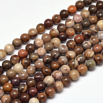 Natural Petrified Wood Round Bead Strands, 6mm, Hole: 1mm; about 63pcs/strand, 15inches(G-F266-08-6mm)