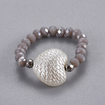 Electroplate Glass Stretch Rings, with Synthetic Hematite and Opaque ABS Plastic Imitation Pearl, Heart, Gray, Size 8; 18mm(RJEW-JR00247-05)