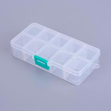 White Rectangle Plastic Beads Containers