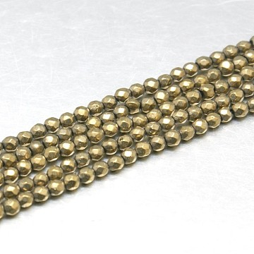 Natural Pyrite Beads Strands, Grade AB, Faceted, Round, Dark Khaki, 2mm, Hole: 0.5mm(G-J002-19)
