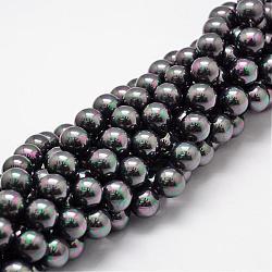 """Chapelets de perles en coquille, arc-en-ciel plaqué, Grade a, rond, noir, 8mm, trou: 1mm; environ 51 pcs/chapelet, 16""""(BSHE-L025-05-8mm)"""