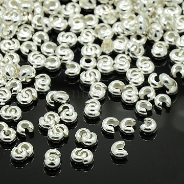 Brass Crimp Beads Covers, Cadmium Free&Lead Free, Round, Silver Color Plated, About 3.2mm In Diameter, 2.2mm Thick, Hole: 1mm; about 222pcs/10g(X-EC266-1S)