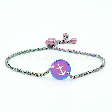 """Bracelets réglables en 201 acier inoxydable, bracelets bolo, avec des chaînes de boîte, plat rond avec constellation / signe du zodiaque, Sagittaire, 9-1/2"""" (24 cm)(STAS-S105-JN664-9)"""