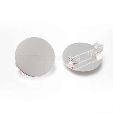 Flat Round Tray Brass Brooch Findings for DIY Brooch Making(X-MAK-Q001-026S)-2