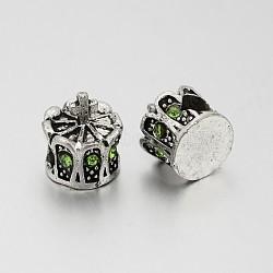 Perles européennes en alliage plaqué argent antique avec strass, grosses perles de la couronne de trous, péridot, 13x12mm, Trou: 5mm(CPDL-J030-07AS)