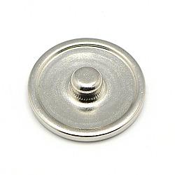 Латунь оснастки сеттинги кнопки кабошон, шпилька фурнитуры, плоско-круглые, без свинца, без никеля и без кадмия, платина, лоток : 16 мм; 18x5.5 мм, Ручка: 5.5 мм(MAK-A005-13P3-NR)