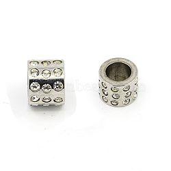 Perles de strass en 304 acier inoxydable, Grade a, colonne, cristal, 10x8mm, Trou: 6.5mm(X-RB-E403-1)