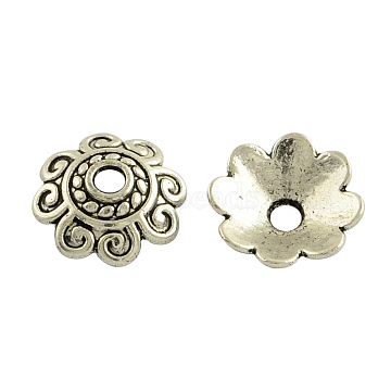 Tibetan Style Alloy Bead Caps, Multi-Petal, Cadmium Free & Lead Free, Antique Silver, 10x3mm, Hole: 2mm, about 58pcs/20g(Y-TIBE-35793-AS-RS)