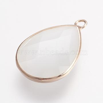 Brass Cat Eye Pendants, Faceted Teardrop, Light Gold, White, 24x16x5.5mm, Hole: 2mm(GLAA-E400-01A)
