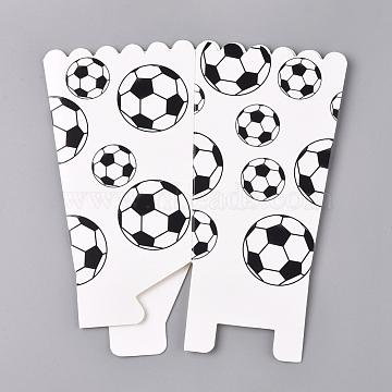 Football Pattern Paper Popcorn Boxes, Pop Corn/Candy/Sanck Boxes, Party Decoration, Black, 16.3x15.7x0.1cm; Finished Product: 11.8x7.8x8cm(CON-L019-B-04)