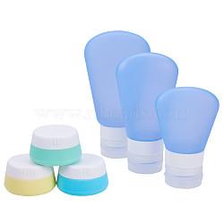 Pot de crème de silicone portable 20ml, avec tampions plastique, couleur mixte, 4.8x2.7 cm(MRMJ-BC0001-01)