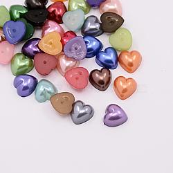 Imitation acrylique cabochons de perles, teint, cœur, couleur mixte, 9~9.5x9~9.5x4.5 mm; environ 1500 PCs / sac(MACR-F022-A-M)